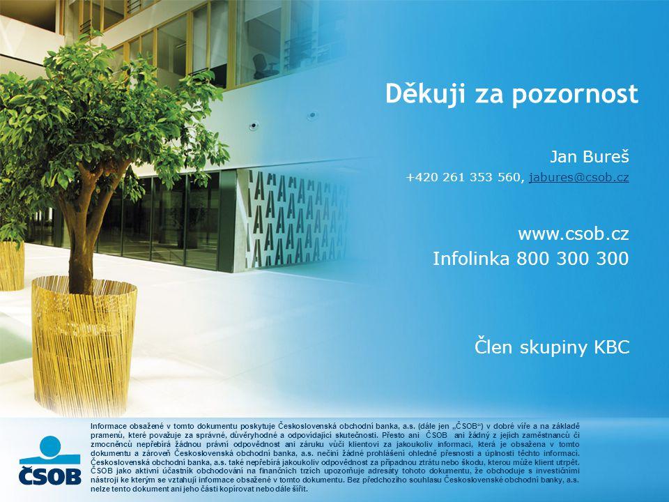 Děkuji za pozornost Jan Bureš +420 261 353 560, jabures@csob.czjabures@csob.cz www.csob.cz Infolinka 800 300 300 Člen skupiny KBC Informace obsažené v tomto dokumentu poskytuje Československá obchodní banka, a.s.