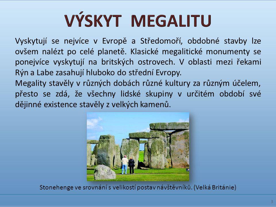 Vyskytují se nejvíce v Evropě a Středomoří, obdobné stavby lze ovšem nalézt po celé planetě. Klasické megalitické monumenty se ponejvíce vyskytují na