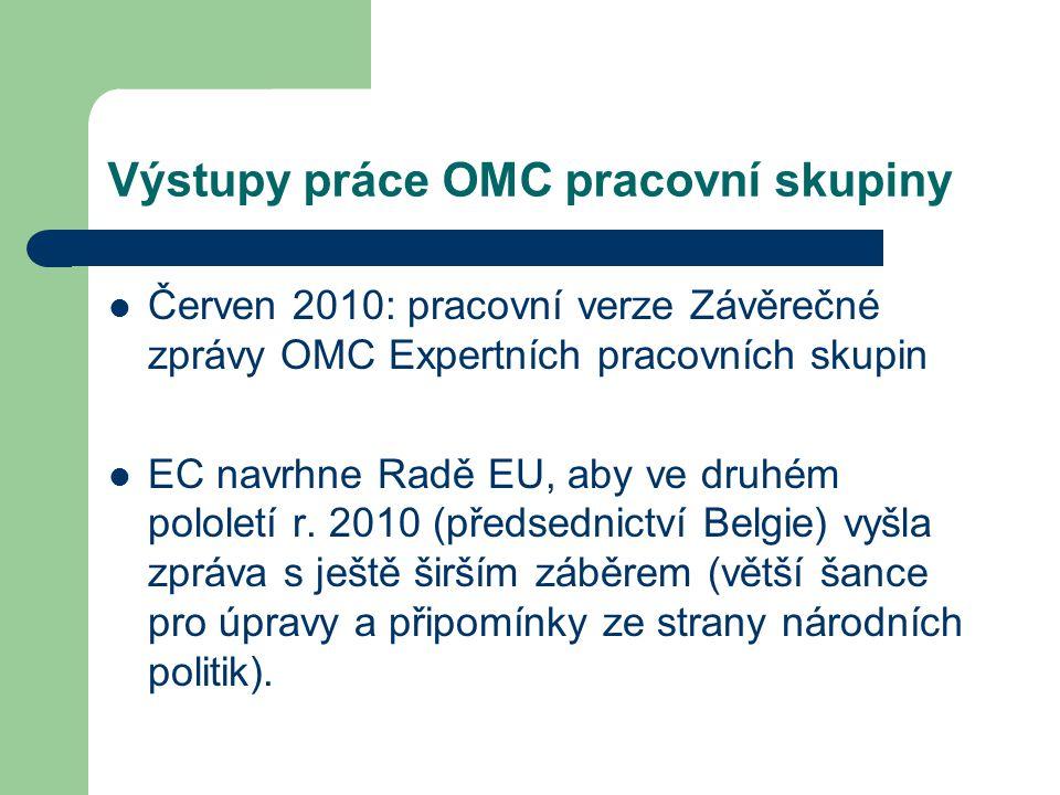 Výstupy práce OMC pracovní skupiny Červen 2010: pracovní verze Závěrečné zprávy OMC Expertních pracovních skupin EC navrhne Radě EU, aby ve druhém pol