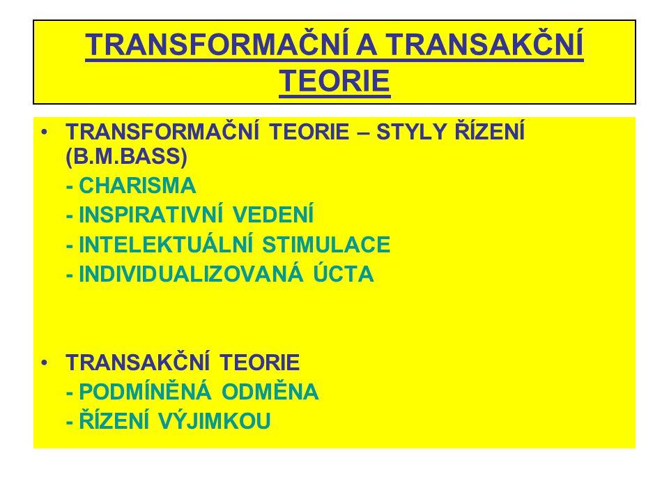 TRANSFORMAČNÍ A TRANSAKČNÍ TEORIE TRANSFORMAČNÍ TEORIE – STYLY ŘÍZENÍ (B.M.BASS) - CHARISMA - INSPIRATIVNÍ VEDENÍ - INTELEKTUÁLNÍ STIMULACE - INDIVIDU