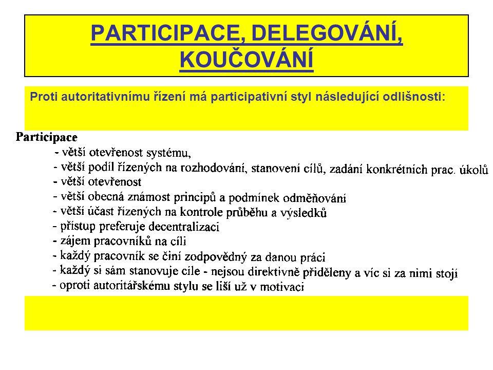 PARTICIPACE, DELEGOVÁNÍ, KOUČOVÁNÍ Proti autoritativnímu řízení má participativní styl následující odlišnosti: