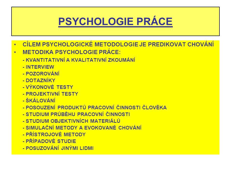 PSYCHOLOGIE PRÁCE CÍLEM PSYCHOLOGICKÉ METODOLOGIE JE PREDIKOVAT CHOVÁNÍ METODIKA PSYCHOLOGIE PRÁCE: - KVANTITATIVNÍ A KVALITATIVNÍ ZKOUMÁNÍ - INTERVIE