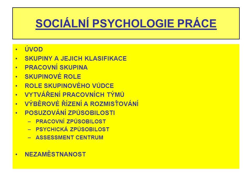SOCIÁLNÍ PSYCHOLOGIE PRÁCE ÚVOD SKUPINY A JEJICH KLASIFIKACE PRACOVNÍ SKUPINA SKUPINOVÉ ROLE ROLE SKUPINOVÉHO VŮDCE VYTVÁŘENÍ PRACOVNÍCH TÝMŮ VÝBĚROVÉ