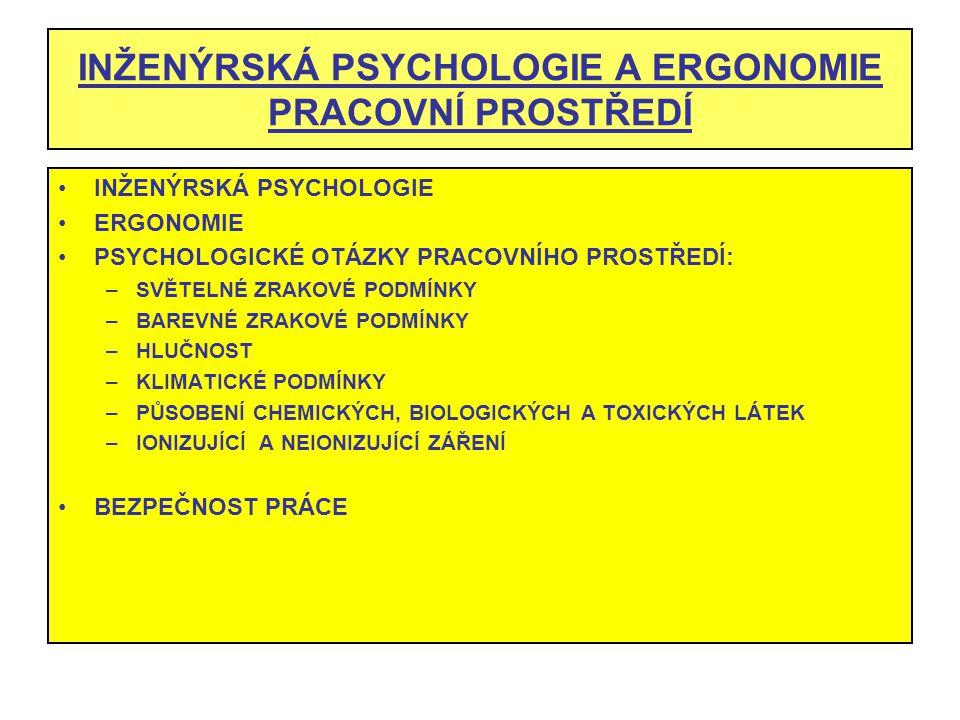 INŽENÝRSKÁ PSYCHOLOGIE A ERGONOMIE PRACOVNÍ PROSTŘEDÍ INŽENÝRSKÁ PSYCHOLOGIE ERGONOMIE PSYCHOLOGICKÉ OTÁZKY PRACOVNÍHO PROSTŘEDÍ: –SVĚTELNÉ ZRAKOVÉ PO