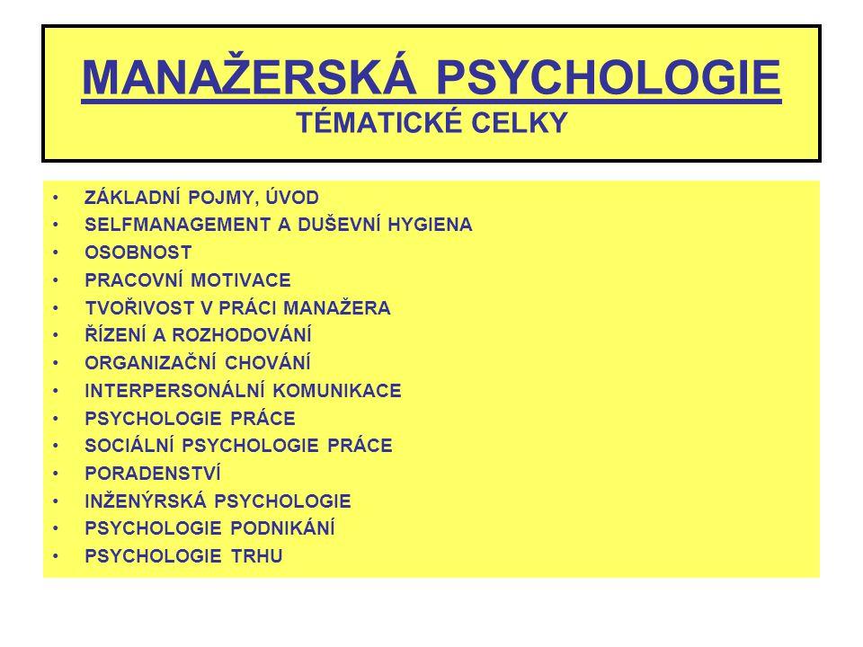 MANAŽERSKÁ PSYCHOLOGIE TÉMATICKÉ CELKY ZÁKLADNÍ POJMY, ÚVOD SELFMANAGEMENT A DUŠEVNÍ HYGIENA OSOBNOST PRACOVNÍ MOTIVACE TVOŘIVOST V PRÁCI MANAŽERA ŘÍZ