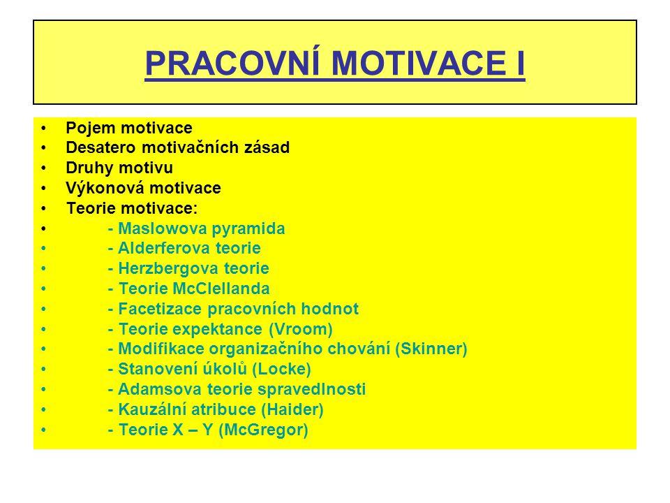 PRACOVNÍ MOTIVACE I Pojem motivace Desatero motivačních zásad Druhy motivu Výkonová motivace Teorie motivace: - Maslowova pyramida - Alderferova teori