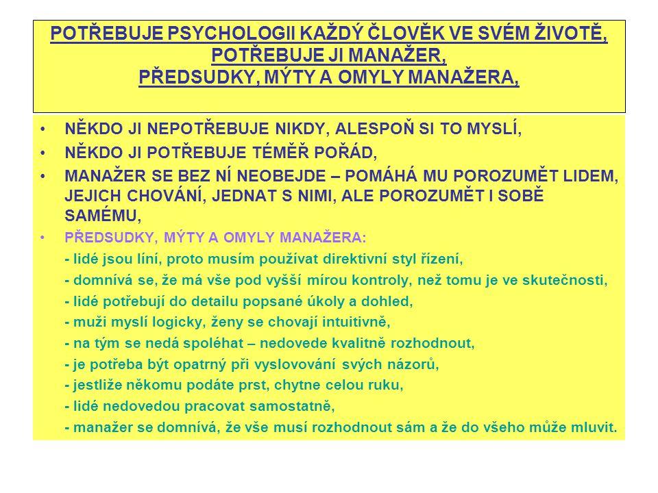 POTŘEBUJE PSYCHOLOGII KAŽDÝ ČLOVĚK VE SVÉM ŽIVOTĚ, POTŘEBUJE JI MANAŽER, PŘEDSUDKY, MÝTY A OMYLY MANAŽERA, NĚKDO JI NEPOTŘEBUJE NIKDY, ALESPOŇ SI TO M