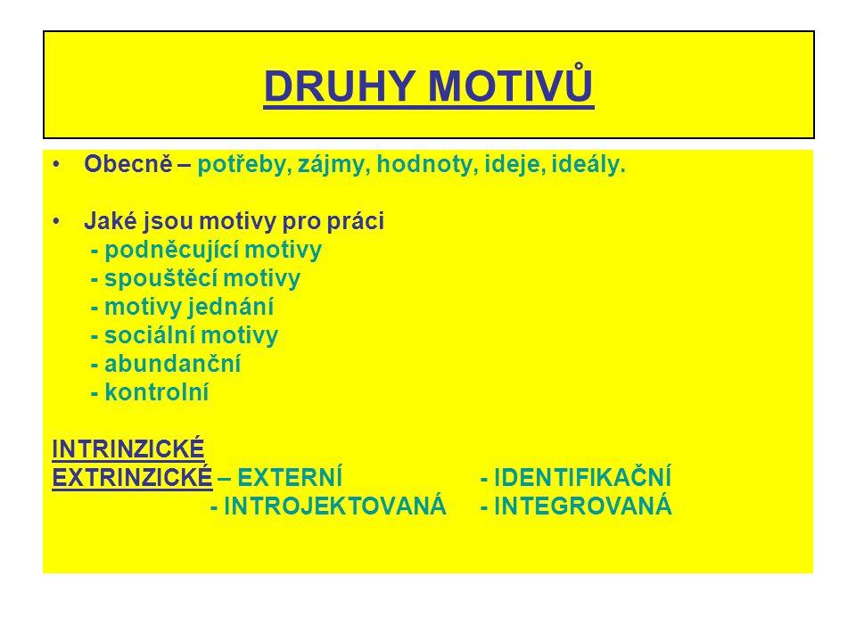 DRUHY MOTIVŮ Obecně – potřeby, zájmy, hodnoty, ideje, ideály. Jaké jsou motivy pro práci - podněcující motivy - spouštěcí motivy - motivy jednání - so