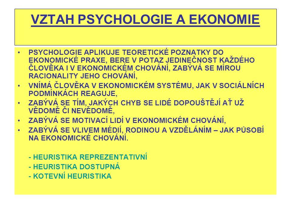 VZTAH PSYCHOLOGIE A EKONOMIE PSYCHOLOGIE APLIKUJE TEORETICKÉ POZNATKY DO EKONOMICKÉ PRAXE, BERE V POTAZ JEDINEČNOST KAŽDÉHO ČLOVĚKA I V EKONOMICKÉM CH