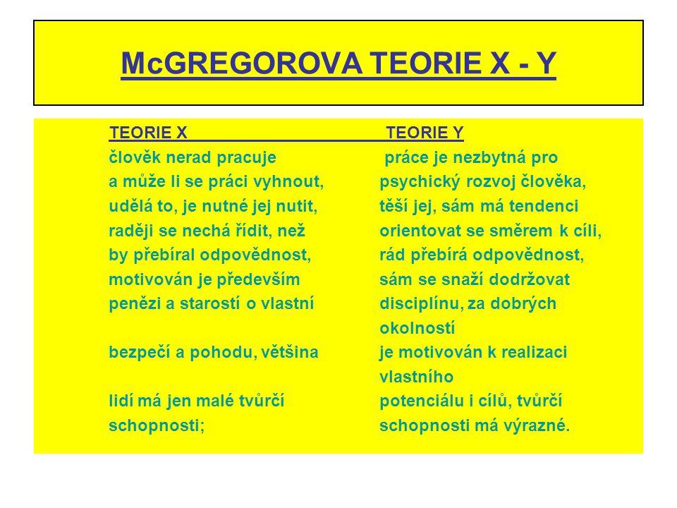 McGREGOROVA TEORIE X - Y TEORIE X TEORIE Y člověk nerad pracuje práce je nezbytná pro a může li se práci vyhnout,psychický rozvoj člověka, udělá to, j