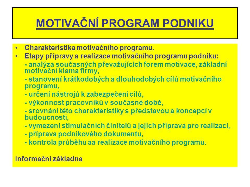 MOTIVAČNÍ PROGRAM PODNIKU Charakteristika motivačního programu. Etapy přípravy a realizace motivačního programu podniku: - analýza současných převažuj