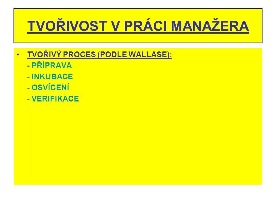 TVOŘIVOST V PRÁCI MANAŽERA TVOŘIVÝ PROCES (PODLE WALLASE): - PŘÍPRAVA - INKUBACE - OSVÍCENÍ - VERIFIKACE