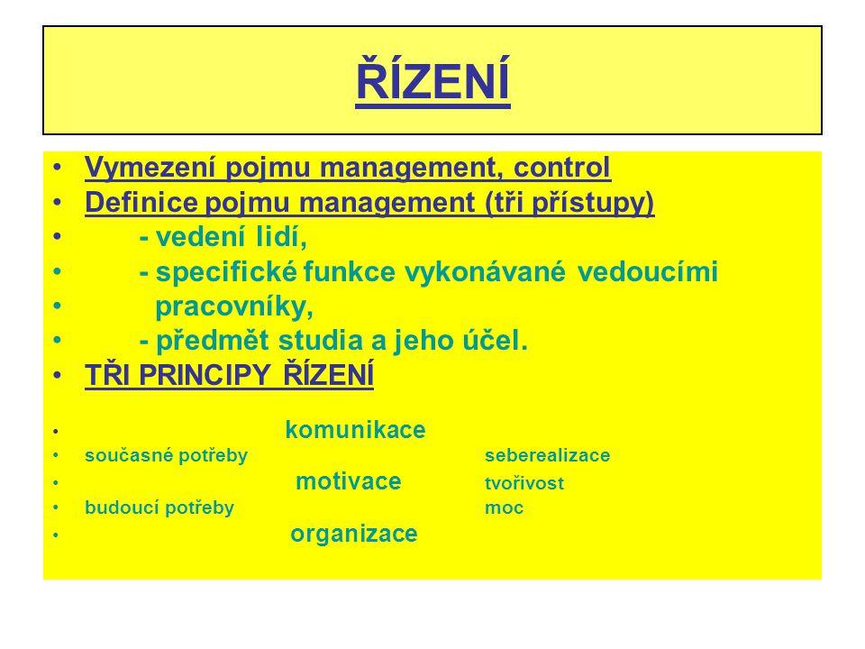 ŘÍZENÍ Vymezení pojmu management, control Definice pojmu management (tři přístupy) - vedení lidí, - specifické funkce vykonávané vedoucími pracovníky,
