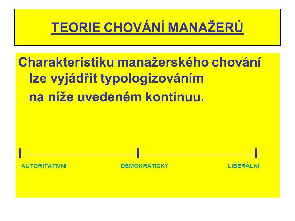 TEORIE CHOVÁNÍ MANAŽERŮ Charakteristiku manažerského chování lze vyjádřit typologizováním na níže uvedeném kontinuu. III AUTORITATIVNÍ DEMOKRATICKÝ LI