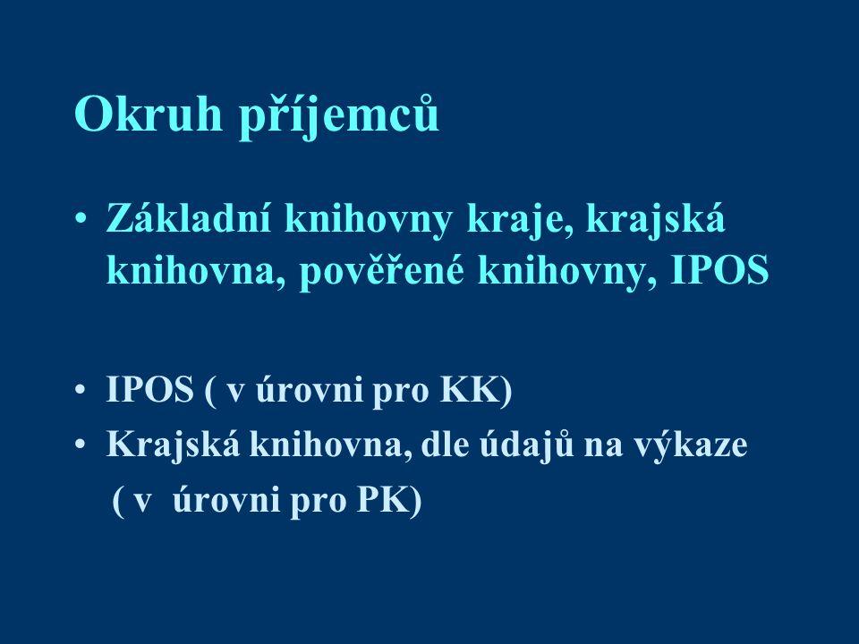 Okruh příjemců Základní knihovny kraje, krajská knihovna, pověřené knihovny, IPOS IPOS ( v úrovni pro KK) Krajská knihovna, dle údajů na výkaze ( v úrovni pro PK)