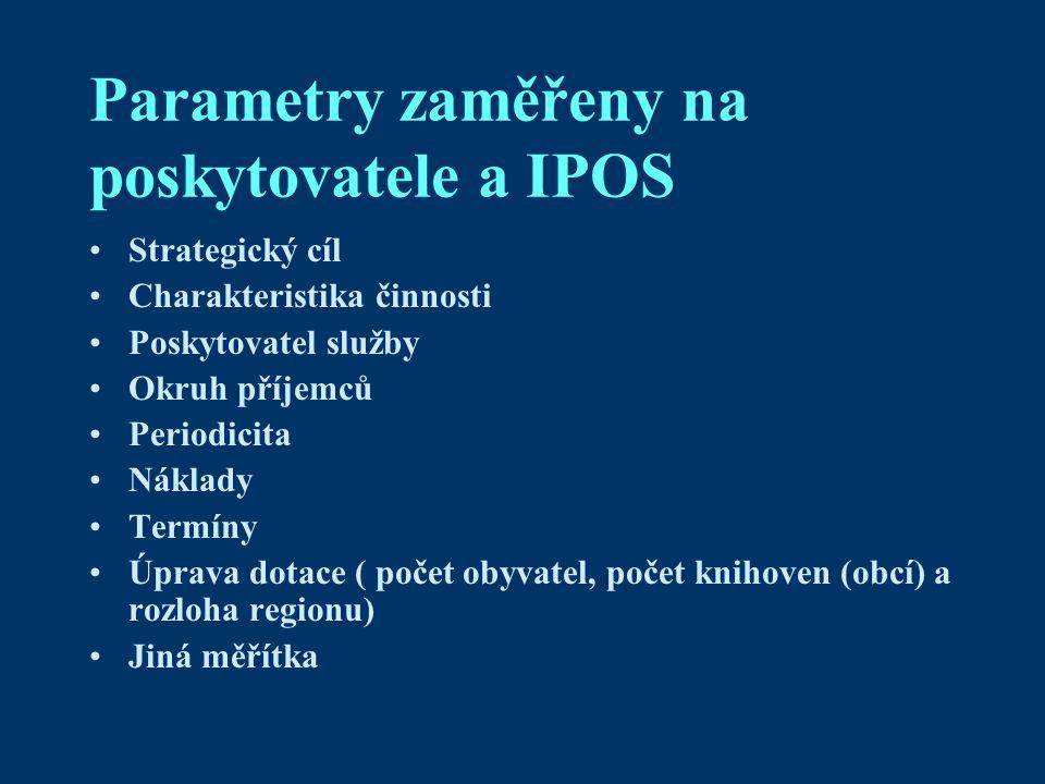 Parametry zaměřeny na poskytovatele a IPOS Strategický cíl Charakteristika činnosti Poskytovatel služby Okruh příjemců Periodicita Náklady Termíny Úprava dotace ( počet obyvatel, počet knihoven (obcí) a rozloha regionu) Jiná měřítka