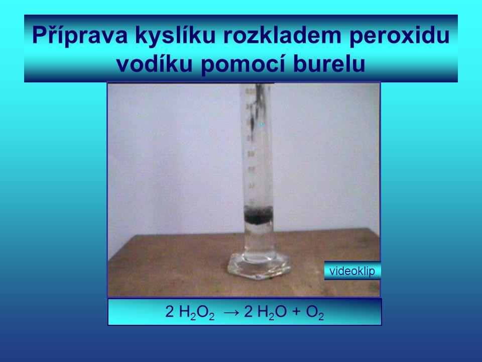 Příprava kyslíku rozkladem peroxidu vodíku pomocí burelu 2 H 2 O 2 → 2 H 2 O + O 2 videoklip