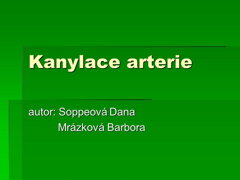 Kanylace arterie autor: Soppeová Dana Mrázková Barbora Mrázková Barbora