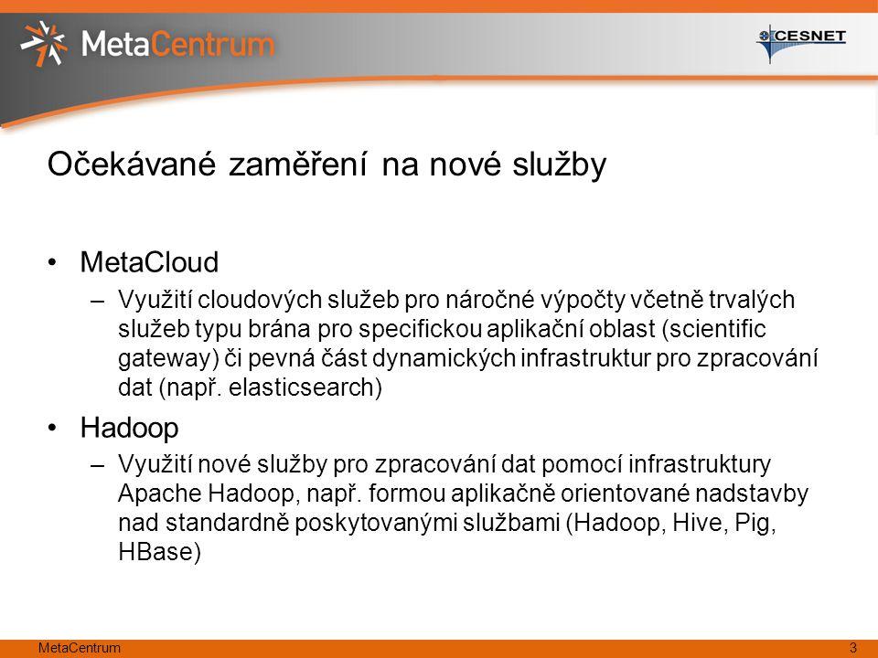 Očekávané zaměření na nové služby MetaCloud –Využití cloudových služeb pro náročné výpočty včetně trvalých služeb typu brána pro specifickou aplikační oblast (scientific gateway) či pevná část dynamických infrastruktur pro zpracování dat (např.