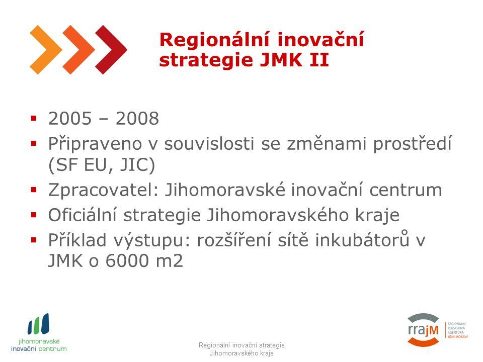 4 Regionální inovační strategie JMK II  2005 – 2008  Připraveno v souvislosti se změnami prostředí (SF EU, JIC)  Zpracovatel: Jihomoravské inovační centrum  Oficiální strategie Jihomoravského kraje  Příklad výstupu: rozšíření sítě inkubátorů v JMK o 6000 m2 RIS JMK IIIRegionální inovační strategie Jihomoravského kraje