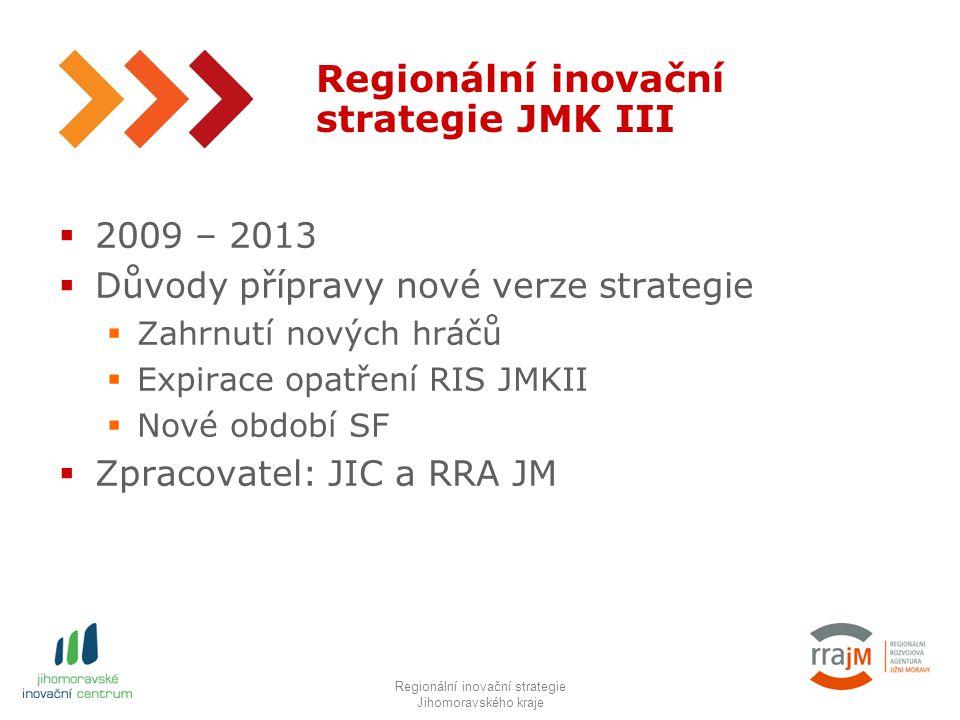 5 Regionální inovační strategie JMK III  2009 – 2013  Důvody přípravy nové verze strategie  Zahrnutí nových hráčů  Expirace opatření RIS JMKII  Nové období SF  Zpracovatel: JIC a RRA JM RIS JMK IIIRegionální inovační strategie Jihomoravského kraje