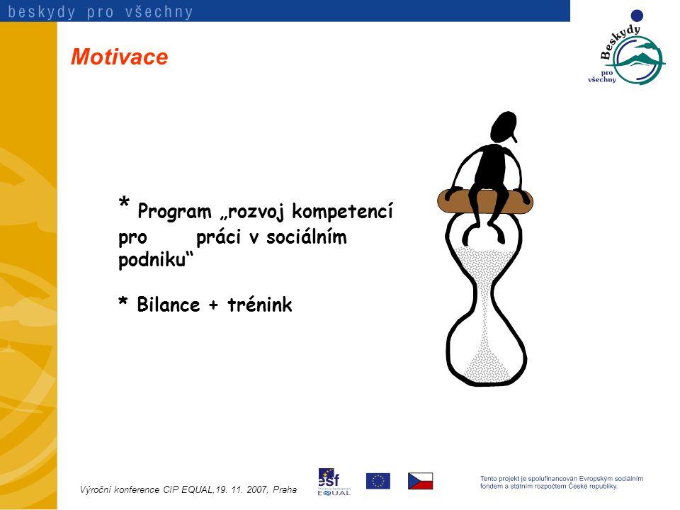 """Motivace * Program """"rozvoj kompetencí pro práci v sociálním podniku * Bilance + trénink Výroční konference CIP EQUAL,19."""