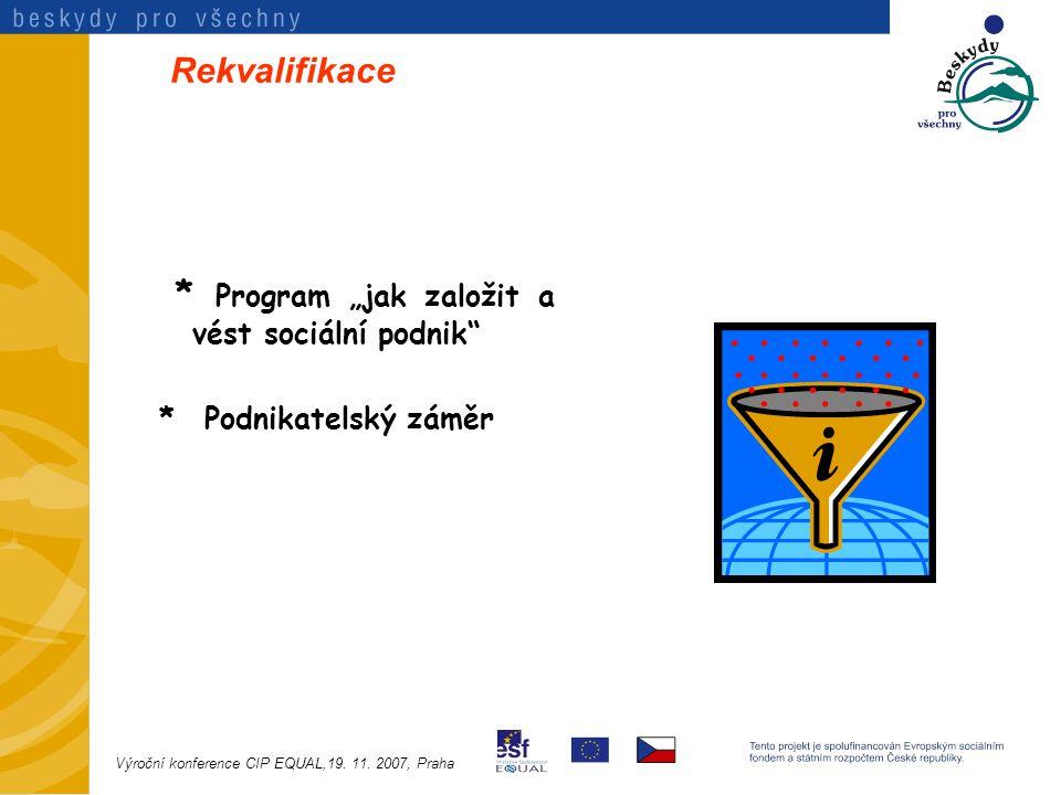 """Rekvalifikace * Program """"jak založit a vést sociální podnik * Podnikatelský záměr Výroční konference CIP EQUAL,19."""
