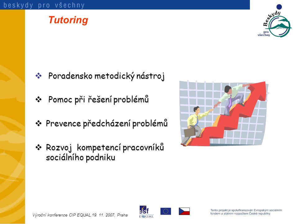 Tutoring  Poradensko metodický nástroj  Pomoc při řešení problémů  Prevence předcházení problémů  Rozvoj kompetencí pracovníků sociálního podniku Výroční konference CIP EQUAL,19.