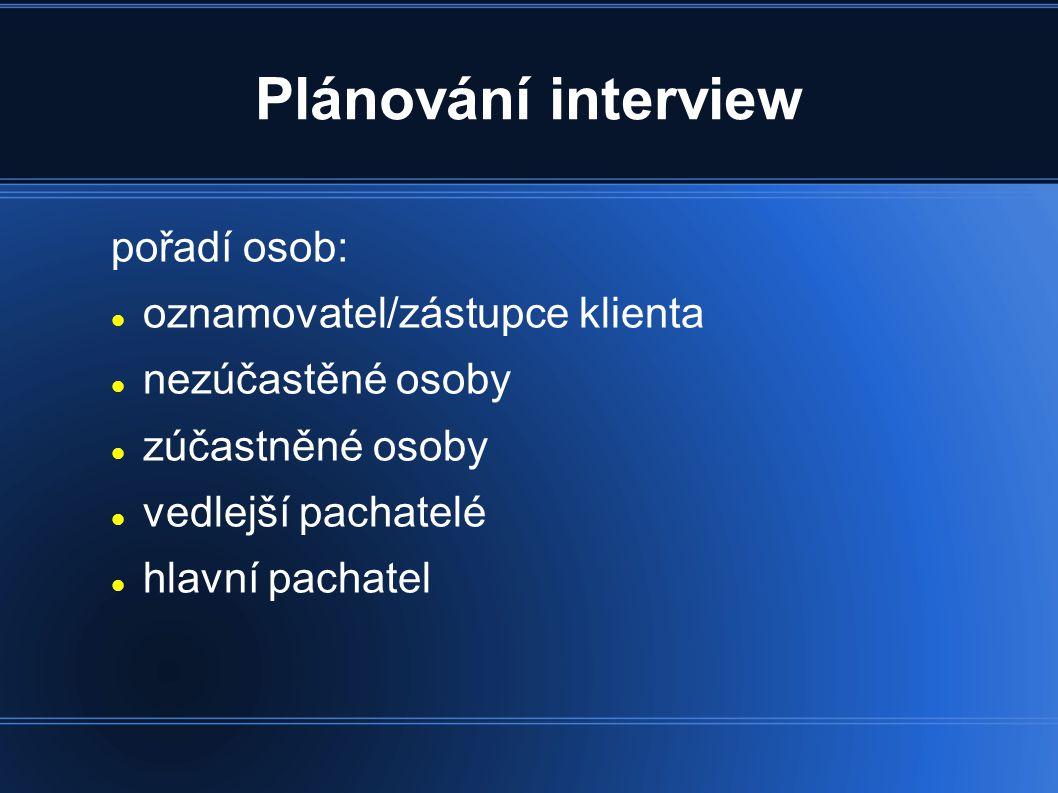 Plánování interview pořadí osob: oznamovatel/zástupce klienta nezúčastěné osoby zúčastněné osoby vedlejší pachatelé hlavní pachatel