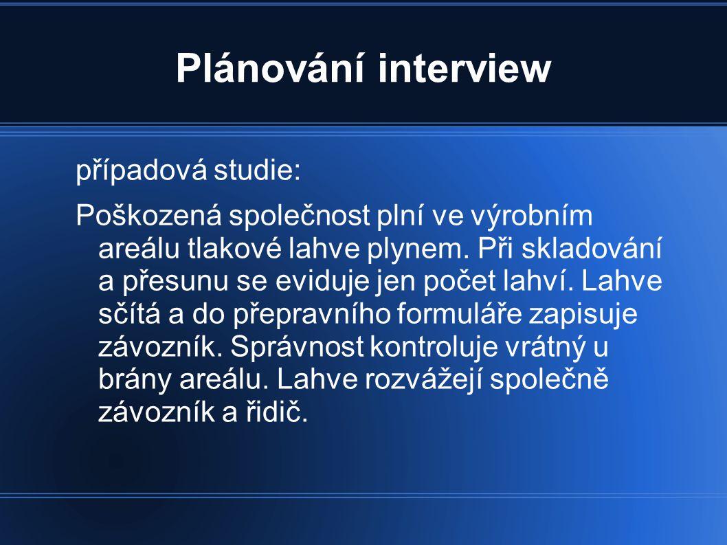 Plánování interview případová studie: Šéf skladu měl podezření na zpronevěru.
