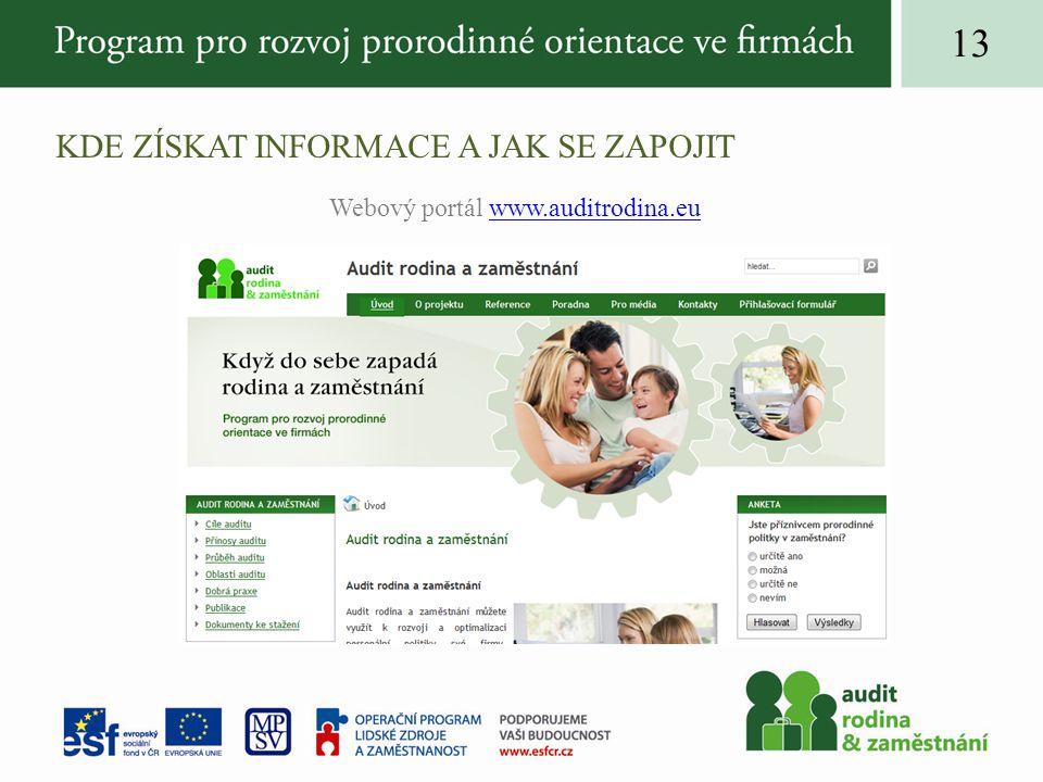 KDE ZÍSKAT INFORMACE A JAK SE ZAPOJIT Webový portál www.auditrodina.euwww.auditrodina.eu 13