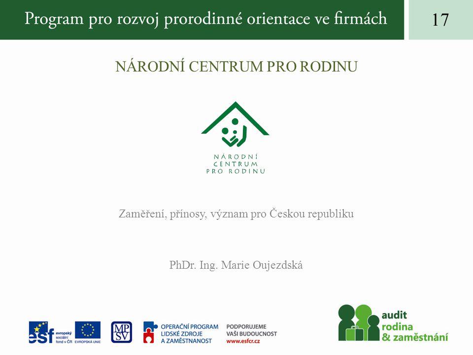 NÁRODNÍ CENTRUM PRO RODINU Zaměření, přínosy, význam pro Českou republiku PhDr.