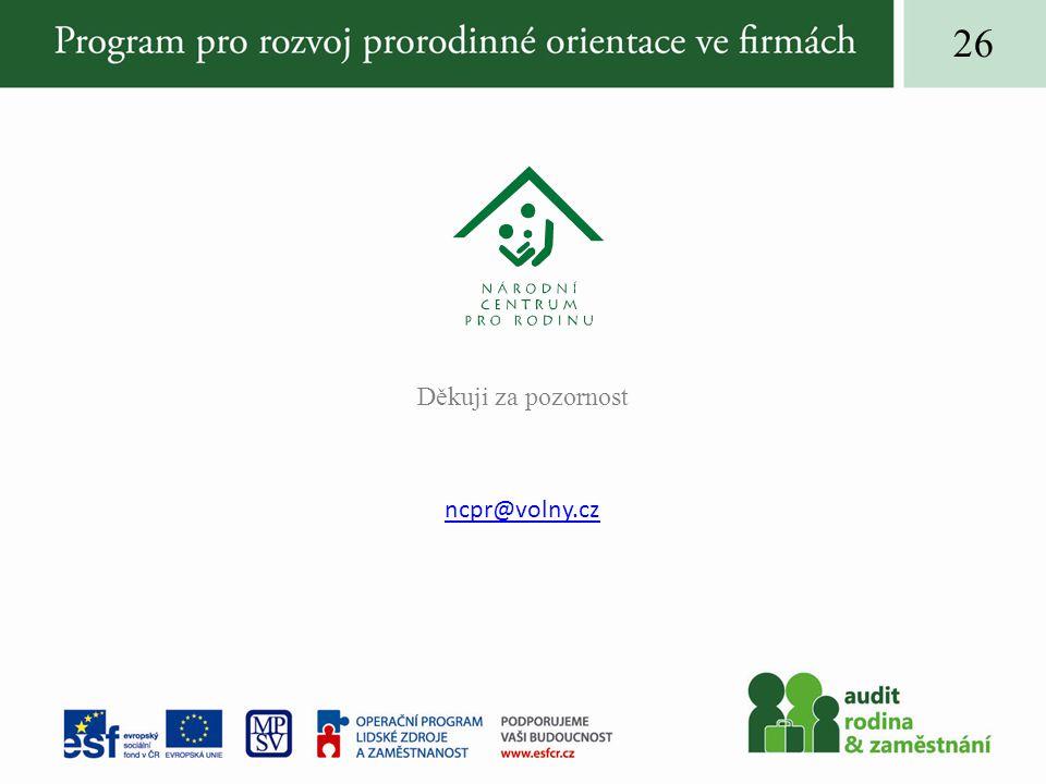 Děkuji za pozornost ncpr@volny.cz 26