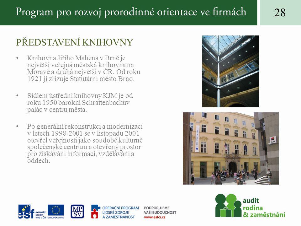 PŘEDSTAVENÍ KNIHOVNY 28 Knihovna Jiřího Mahena v Brně je největší veřejná městská knihovna na Moravě a druhá největší v ČR.