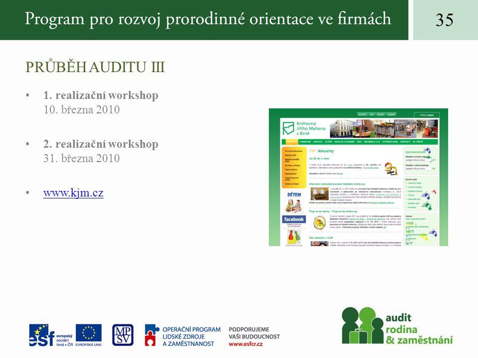 PRŮBĚH AUDITU III 1. realizační workshop 10. března 2010 2.