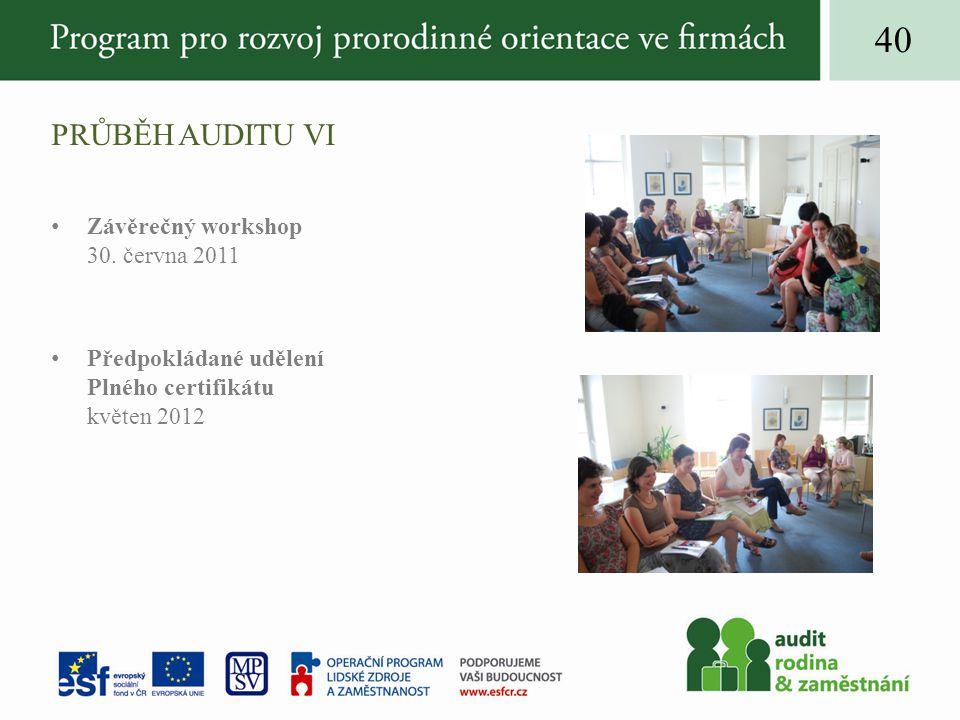 PRŮBĚH AUDITU VI Závěrečný workshop 30.