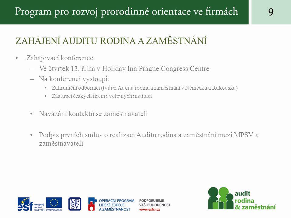 ZAHÁJENÍ AUDITU RODINA A ZAMĚSTNÁNÍ Zahajovací konference –Ve čtvrtek 13.