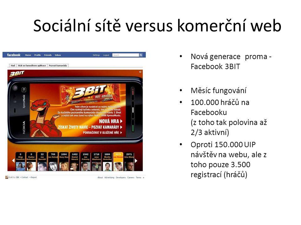 Sociální sítě versus komerční web Nová generace proma - Facebook 3BIT Měsíc fungování 100.000 hráčů na Facebooku (z toho tak polovina až 2/3 aktivní)