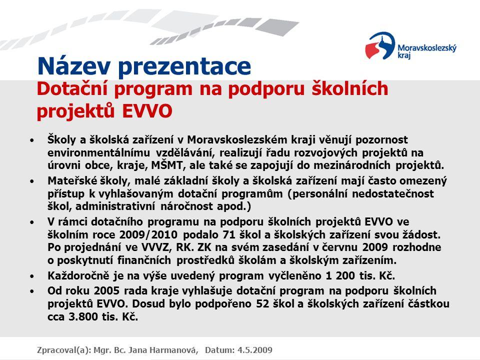 Název prezentace Zpracoval(a): Mgr. Bc. Jana Harmanová, Datum: 4.5.2009 Dotační program na podporu školních projektů EVVO Školy a školská zařízení v M
