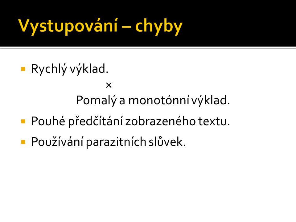  Rychlý výklad. × Pomalý a monotónní výklad.  Pouhé předčítání zobrazeného textu.  Používání parazitních slůvek.