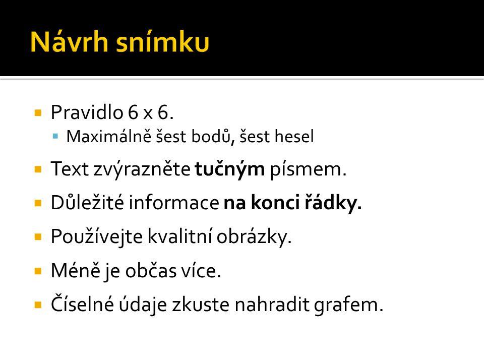  Pravidlo 6 x 6.  Maximálně šest bodů, šest hesel  Text zvýrazněte tučným písmem.  Důležité informace na konci řádky.  Používejte kvalitní obrázk