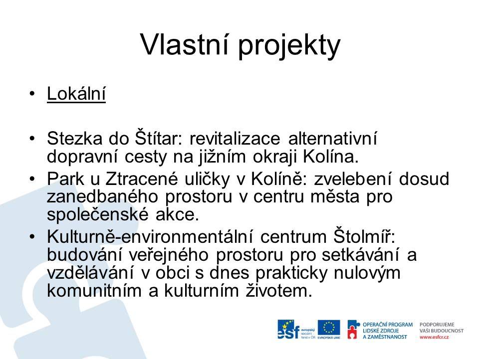 Vlastní projekty Lokální Stezka do Štítar: revitalizace alternativní dopravní cesty na jižním okraji Kolína. Park u Ztracené uličky v Kolíně: zveleben