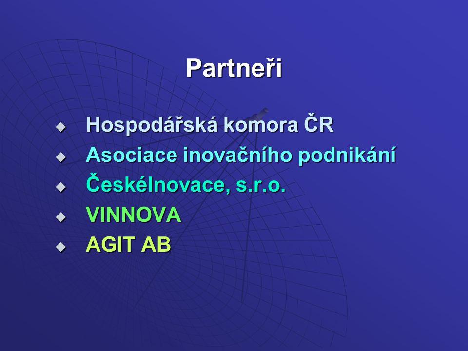 Partneři  Hospodářská komora ČR  Asociace inovačního podnikání  ČeskéInovace, s.r.o.