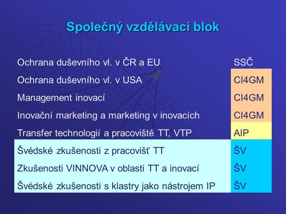 Společný vzdělávací blok Ochrana duševního vl. v ČR a EUSSČ Ochrana duševního vl.