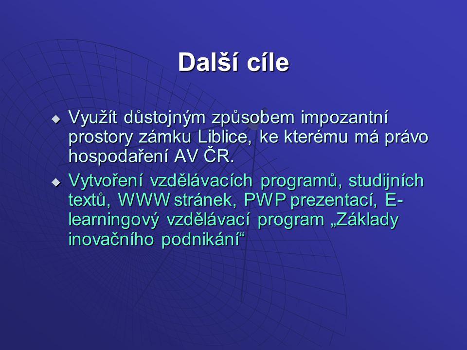 Další cíle  Využít důstojným způsobem impozantní prostory zámku Liblice, ke kterému má právo hospodaření AV ČR.