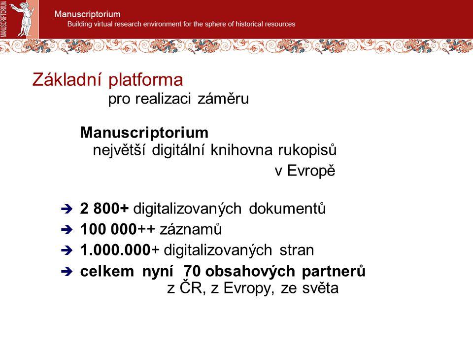 Základní platforma pro realizaci záměru Manuscriptorium největší digitální knihovna rukopisů v Evropě  2 800+ digitalizovaných dokumentů  100 000++