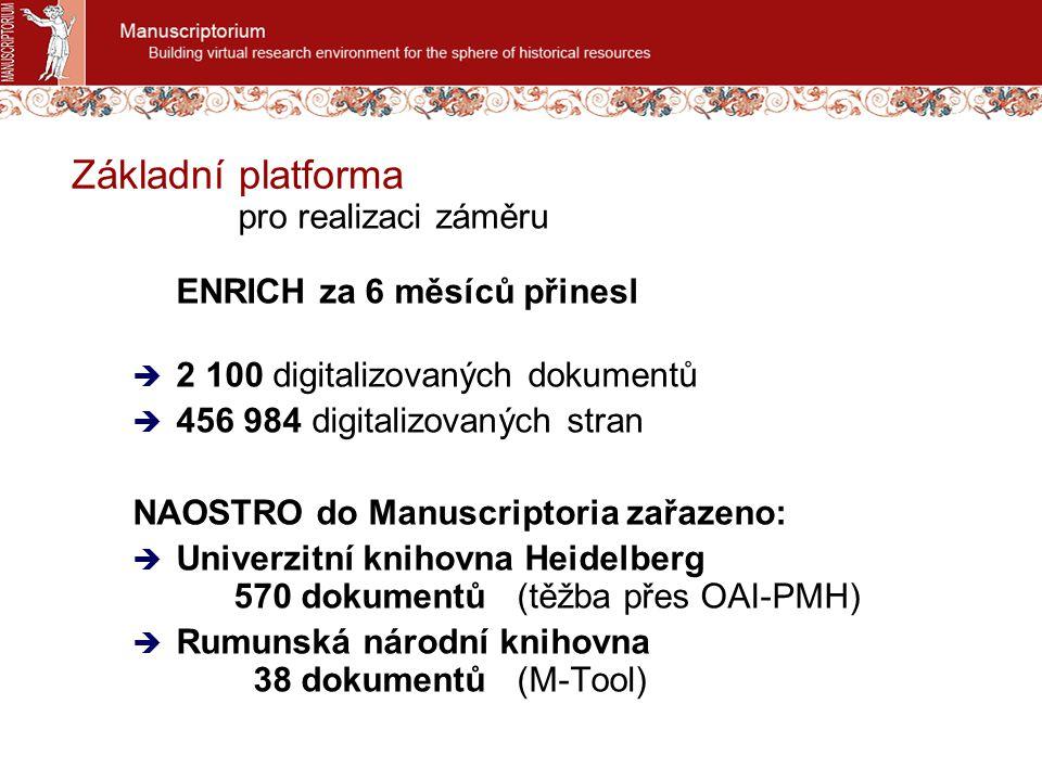 Základní platforma pro realizaci záměru ENRICH za 6 měsíců přinesl  2 100 digitalizovaných dokumentů  456 984 digitalizovaných stran NAOSTRO do Manu