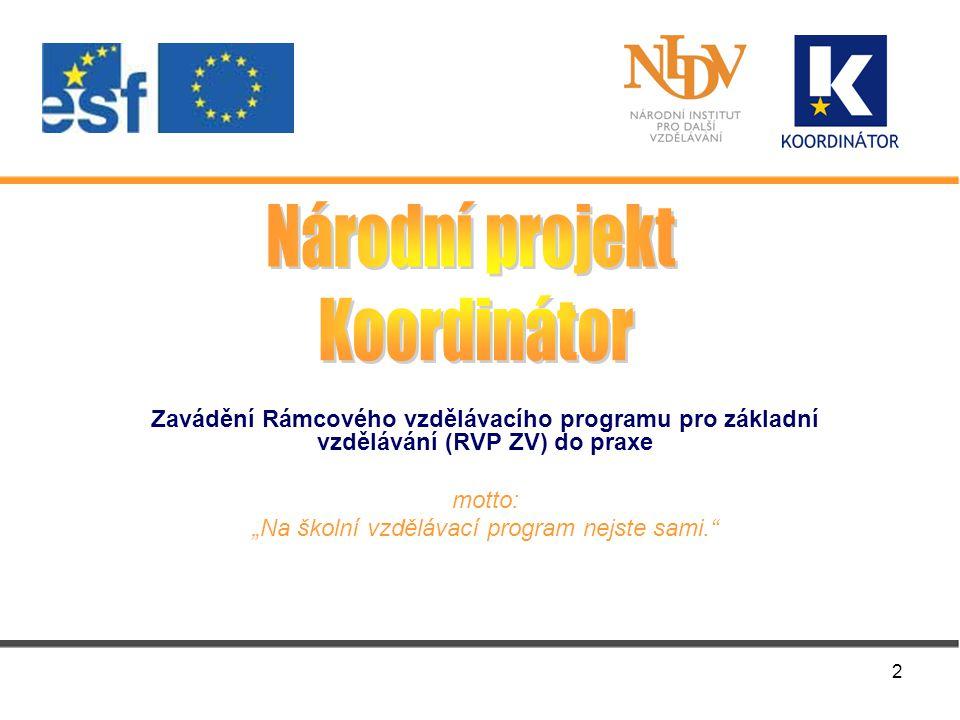 """2 Zavádění Rámcového vzdělávacího programu pro základní vzdělávání (RVP ZV) do praxe motto: """"Na školní vzdělávací program nejste sami."""