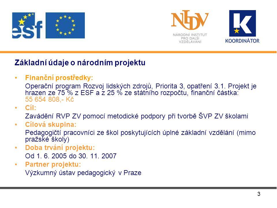 3 Základní údaje o národním projektu Finanční prostředky: Operační program Rozvoj lidských zdrojů, Priorita 3, opatření 3.1.