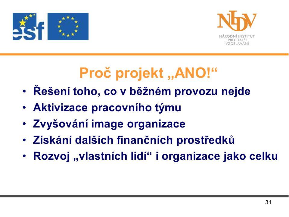 """31 Proč projekt """"ANO! Řešení toho, co v běžném provozu nejde Aktivizace pracovního týmu Zvyšování image organizace Získání dalších finančních prostředků Rozvoj """"vlastních lidí i organizace jako celku"""